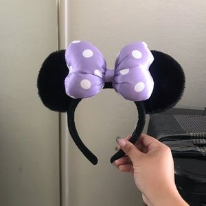 Purple and White Minnie Ears